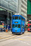 Double-decker trams ways of travelling in Hong Kong Royalty Free Stock Image