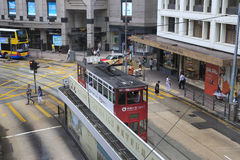 Double-decker tramway bus station Stock Images
