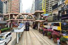 Double-decker tramway. HONG KONG - DECEMBER 25, 2015: view from upper deck of double-decker tramway. The tram is the cheapest mode of public transport on Hong Royalty Free Stock Photography