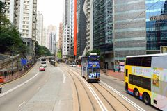 Double-decker tramway. HONG KONG - DECEMBER 25, 2015: view from upper deck of double-decker tramway. The tram is the cheapest mode of public transport on Hong Royalty Free Stock Images