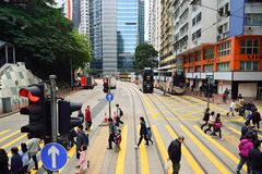 Double-decker tramway. HONG KONG - DECEMBER 25, 2015: view from upper deck of double-decker tramway. The tram is the cheapest mode of public transport on Hong Royalty Free Stock Image