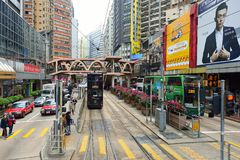 Double-decker tramway. HONG KONG - DECEMBER 25, 2015: view from upper deck of double-decker tramway. The tram is the cheapest mode of public transport on Hong Royalty Free Stock Photos