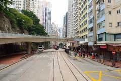 Double-decker tramway. HONG KONG - DECEMBER 25, 2015: view from upper deck of double-decker tramway. The tram is the cheapest mode of public transport on Hong Stock Image