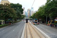 Double-decker tramway. HONG KONG - DECEMBER 25, 2015: view from upper deck of double-decker tramway. The tram is the cheapest mode of public transport on Hong Royalty Free Stock Photo