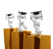 Double degree graduation icon figure. Graduation icon figure 3d render Stock Photography