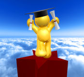 Double degree graduation icon figure. Graduation icon figure 3d render Royalty Free Stock Photo