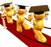 Double degree graduation icon figure. Graduation icon figure on red carpet 3d render Royalty Free Stock Photo