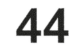 Double digit number 44 formed of small black balls stock video