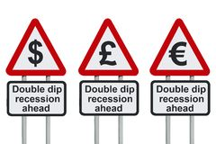 Double dip recession road sign. With dollar, Euro and pound symbol stock photography