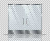 Double door clear glass. Vector realistic picture isolate on transparent background Royalty Free Stock Image