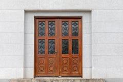Double Door. Double Wooden Door With Glass Decor and Stairway stock images