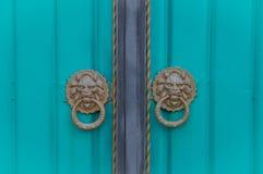 Double door in Kyrgyzstan. Double turquoise door in Kyrgyzstan stock image