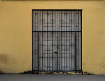Double door with metal bars Royalty Free Stock Photography