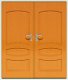 Double doors. SEt of double doors in white frame Royalty Free Stock Photos