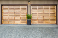 Double doors wooden garage Royalty Free Stock Image