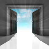 Double doorway with blue sky and flare Stock Photo