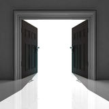 Double doorway with shadow on the floor Stock Images