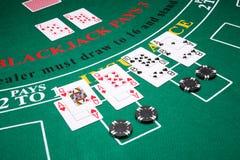 Double down Blackjack hands Stock Images