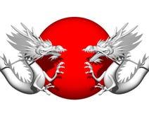 Double Dragon. Double Oriental Dragon type A-un Stock Photo
