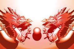 Double Dragon. Double Oriental Dragon type A-un Royalty Free Stock Photo