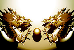 Double Dragon. Double Oriental Dragon type A-un Royalty Free Stock Images
