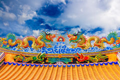 Double Dragon Statue Sky background Stock Image