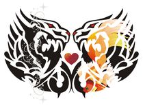 Double dragon symbol with red heart Royalty Free Stock Image