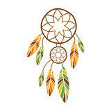 Double Dream Catcher With Feathers, Native Indian Culture Inspired Boho Ethnic Style Print Stock Photo