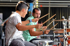Double drummers of Perro (band) concert at Dcode Festival Royalty Free Stock Images