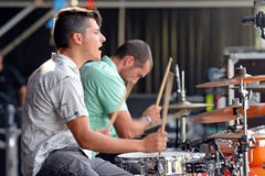 Double drummers of Perro (band) concert at Dcode Festival Royalty Free Stock Image
