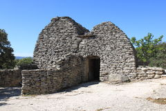 Double dry stone shed, French Bories Village, Gordes. Village des Bories is an open-air museum of dry stone huts, which were once agricultural outhouses used on Royalty Free Stock Photography