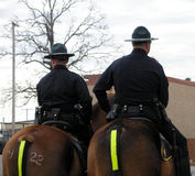 Double Duty. Two mounted police standing guard Royalty Free Stock Image
