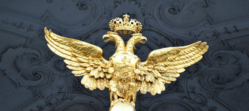 Double eagle - Emblem of Russia. On the gate of the Winter Palace in St.Petersburg stock photography