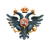 Double eagle with scepter and orb. State Emblem of tsarist Russia Stock Image