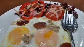 Double egg Pan omelette for breakfast Stock Photos