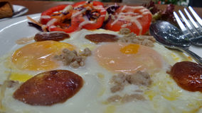 Double egg Pan omelette for breakfast Royalty Free Stock Images