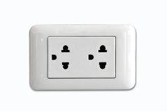 Double electrical power socket and single plug switched on Stock Photography