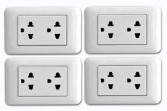 Double electrical power socket and single plug switched on Stock Photos