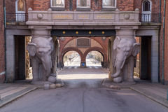 Gate of elephants at Carlsberg Brewery. Elephants gate at Carlsberg Brewery Stock Photos