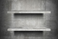 Double empty concrete shelves top Ready for product display montage. royalty free illustration