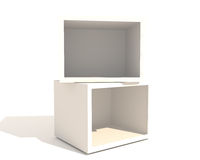 Double Empty Showcase. Of a shop with white box on white background Stock Photos