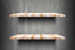 Double empty wooden shelves top Ready for product display montag Stock Photos