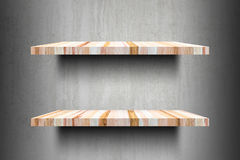 Double empty wooden shelves top Ready for product display montag Royalty Free Stock Image