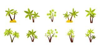 Double ensemble d'icône de palmier, style plat Photo stock