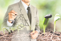 Double eposure business man drawing recycle Royalty Free Stock Photo