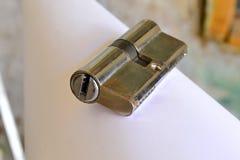 Double euro serrure de cylindre de profil Images stock