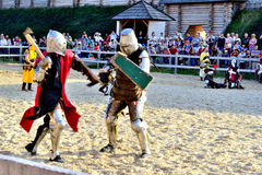 Double-event. International Championship on the historical medieval battle Call of heroes. It passes near Kiev, in the village of Kopachev, Ukraine, 19-20 Royalty Free Stock Image