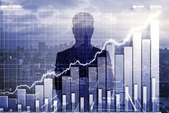 Double explosure with business chart and businessman silhouette Royalty Free Stock Image