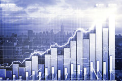 Double explosure with business chart and city view Stock Photos