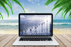 Double explosure with business chart and city view on laptop scr Royalty Free Stock Photos